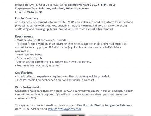 QM Environmental is hiring HAZMAT workers